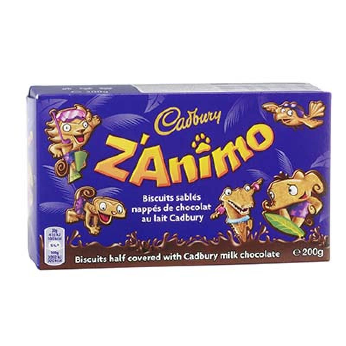 Biscuits Z'Animo au chocolat lait, Cadbury 200 G