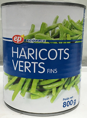 Haricots verts fins EP 800 g